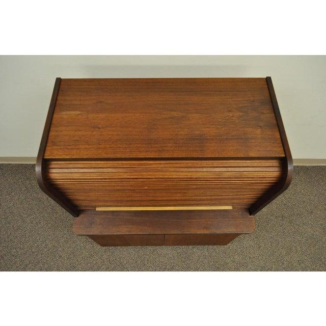 Danish Modern 1960's Danish Style Teak Tambour Roll Top Secretary Desk For Sale - Image 3 of 13