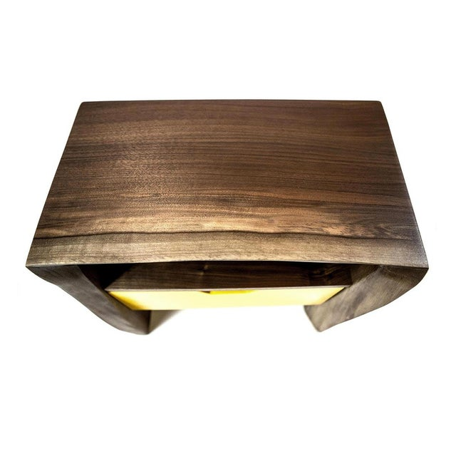 Live Edge Nightstand with Yellow Drawer - Image 5 of 8