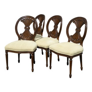 Traditional Off-White Velvet Dining Chairs - Set of 4