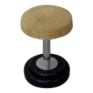 Small Art Deco Stool in Original Fabric For Sale