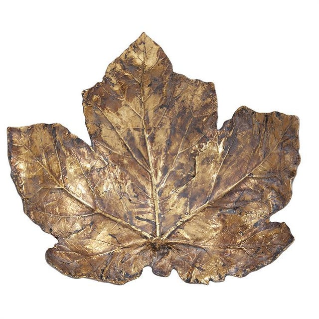 Kenneth Ludwig Chicago Large Gold Maple Leaf Tray For Sale - Image 4 of 5