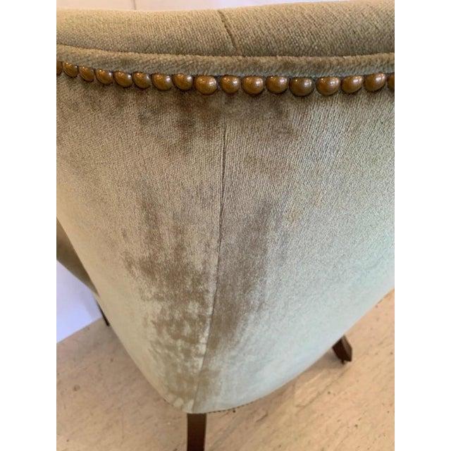 Green Vintage Tufted Sage Green Velvet Barrel Back Wing Chair For Sale - Image 8 of 12