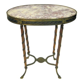 Louis XVI Style Bronze-Mounted Oval Side Table For Sale
