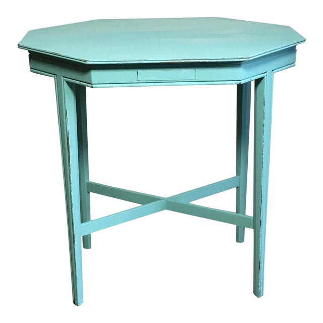 Shabby Chic Turquoise Side Table For Sale