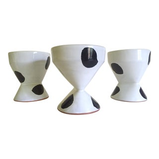 Paul Eshelman Rare 1990 Modernist Studio Pottery Black & White Ceramic Dessert Cups - 3pc Set For Sale