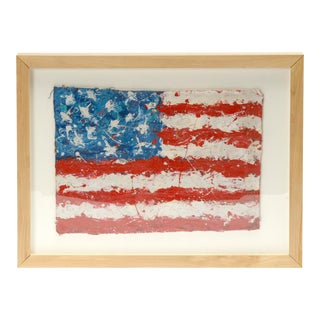 Framed Abstract Expressionist American Flag Painting For Sale