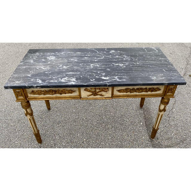 Italian Neoclassical Gilt-Wood Console, Marble Top For Sale - Image 9 of 9