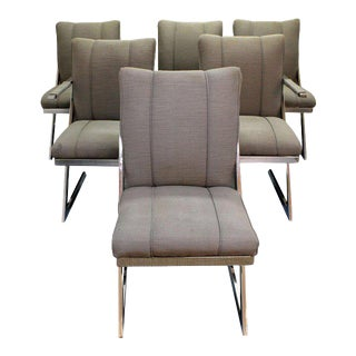 Circa 1970s Mid-Century Modern Charles Hollis Jones Lucite Legged Dining Chairs - Set of 6