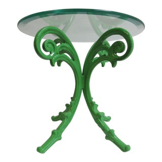 Vintage Aluminium French Regency Green X Base Patio End Table