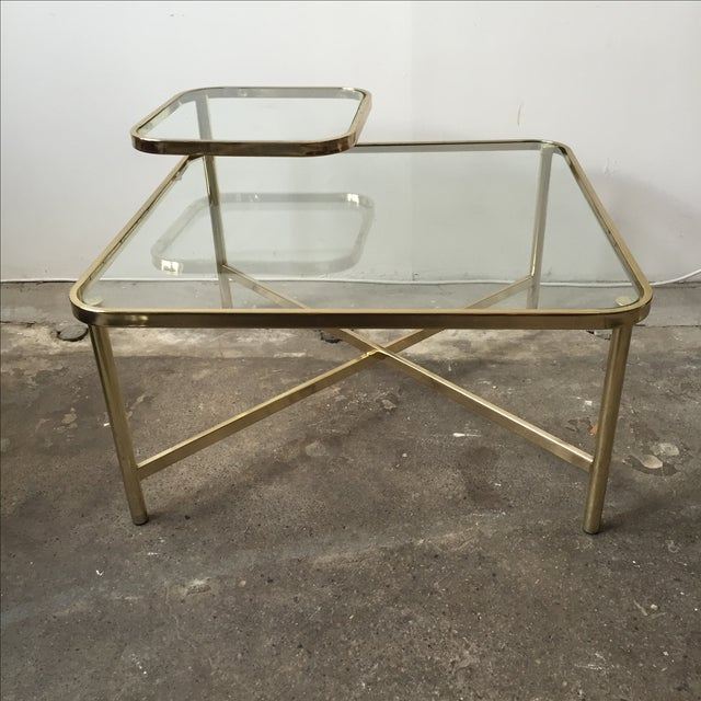 Baughman Style Brass & Glass Swivel Coffee Table - Image 2 of 9