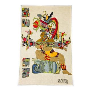 1967 Vintage Embroidered Aztec Artwork For Sale