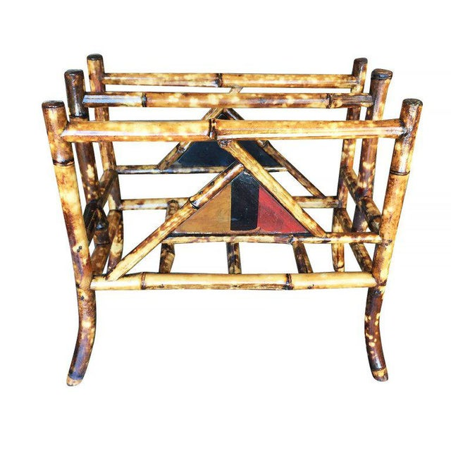Restored Tiger Bamboo Magazine Rack With Divider - Image 3 of 6