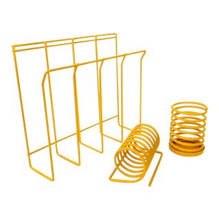 Vintage Mod Mustard Yellow Metal Wall Mount File Rack + Spiral Envelope Sorter + Pen Cup | Office Organizers | Color Pop Desk Decor For Sale