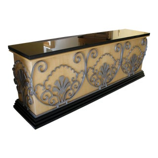 Custom Made Art Deco Style Wood Iron Granite Console Entry Sofa Table For Sale