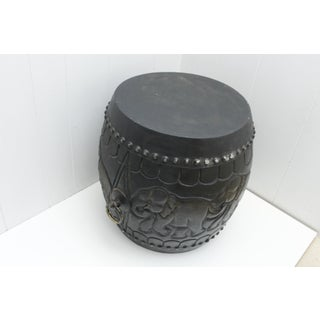 1970s Tribal Thai Ornate Carved Wood Drum Stool With Brass Ring Preview