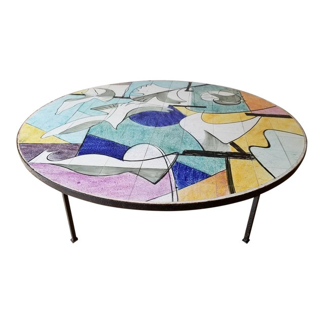 Mid 20th Century Ceramic Tile Coffee Table For Sale