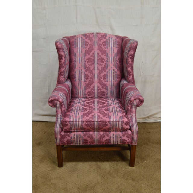 Ethan Allen Chippendale Style Cherry Clean Upholstered Wing Chair For Sale In Philadelphia - Image 6 of 12
