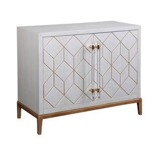 Geometric Modern Bar Cabinet With Lucite Handles For Sale