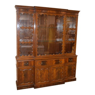 Vintage Two-Piece Mahogany Breakfront Cabinet With Leather Butler's Desk