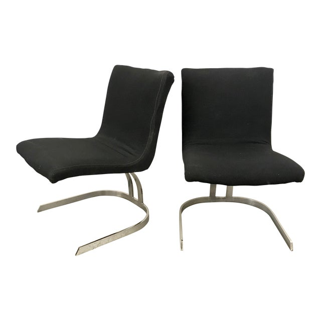 Pair of Cantilevered Scimitar Base Chairs For Sale