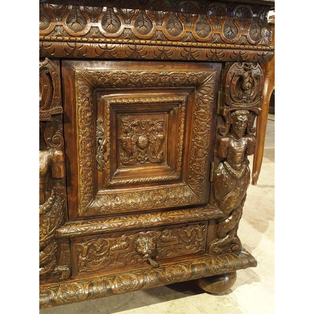 Walnut French Walnut Wood Renaissance Buffet For Sale - Image 7 of 11