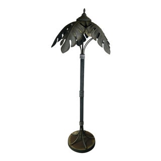 Mid Century Cast Iron Palm Tree Floor Lamp For Sale