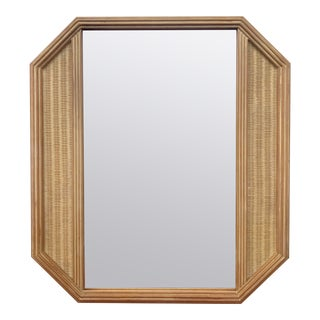 Large Geometric Octagonal Natural Woven Wicker Mirror For Sale