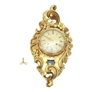 Antique Swedish Gilded Wall Hanging Clock For Sale