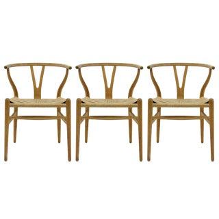 1950s Vintage Hans J. Wegner Model Ch-24 Dining Chairs- Set of 3 For Sale