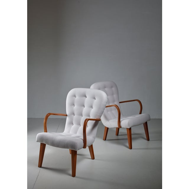 Mid-Century Modern Pair of Lounge Chairs With Curved Armrests, Denmark, 1940s For Sale - Image 3 of 5