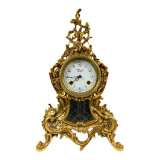 1980s French Style Bronze Clock by H. Moser For Sale