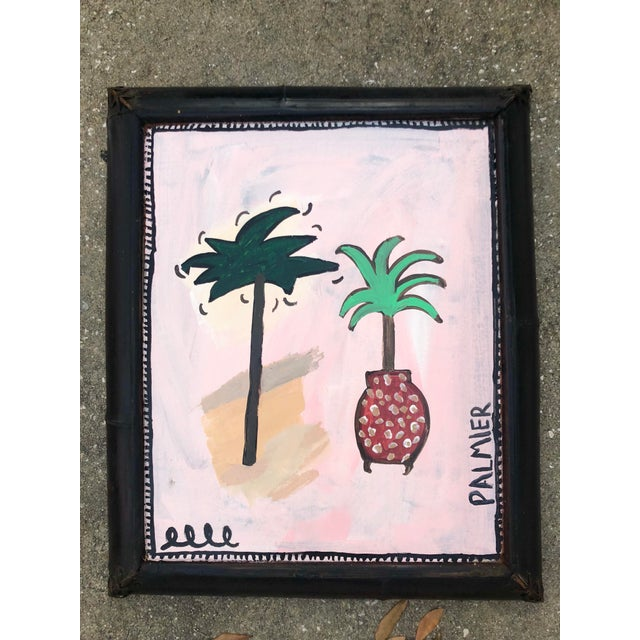 Virginia Chamlee Original Abstract Pink and Green Painting of Palm Trees, Framed For Sale - Image 4 of 4