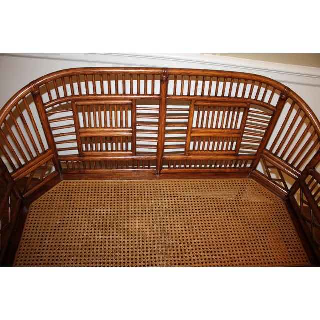 Asian Vintage Mid Century Bamboo Rattan Pavilion Brighton Chinoiserie Chippendale Settee For Sale - Image 3 of 13