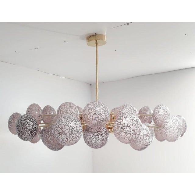 Italian Crackled Globes Chandelier by Fabio Ltd For Sale - Image 3 of 9