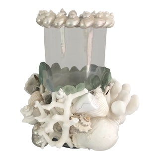 Nautical Hurricane Candle Seashell Lantern For Sale