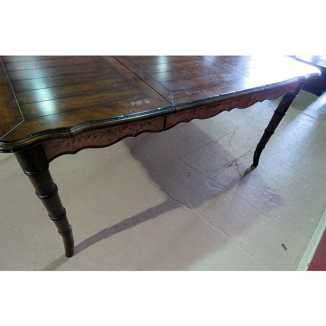 Brown 20th Century Chippendale Faux Bamboo Dining Room Table For Sale - Image 8 of 9