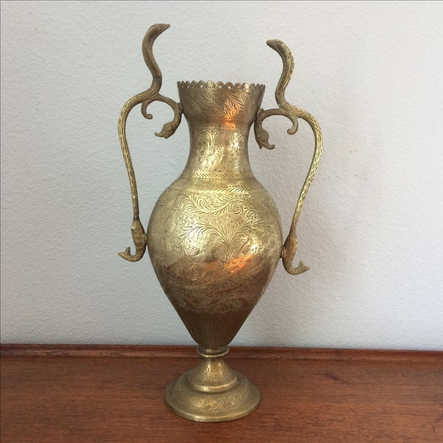 Gorgeous brass vase with spectacular details! Handles are cobra snakes on top which then turn into fish on the bottom....