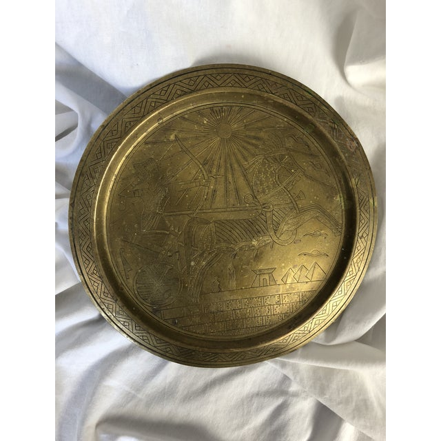 Mid 20th Century 20th Century Egyptian Brass Etched Plate For Sale - Image 5 of 8