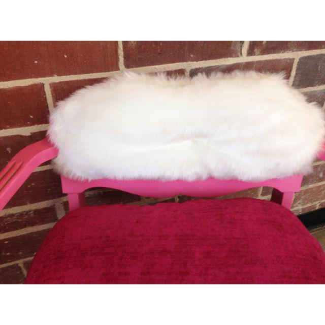 1950s Vintage Art Deco Hot Pink Vanity Chair For Sale In Atlanta - Image 6 of 8