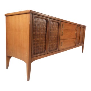 Mid-Century Woven Front Credenza by Lane Furniture For Sale