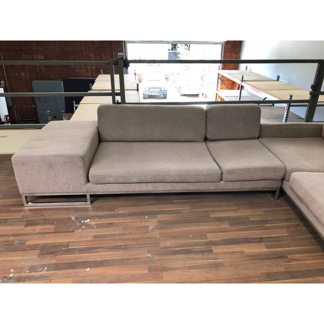 Ligne Roset Styled Sectional Modern Sofa With Chrome Base For Sale In Los Angeles - Image 6 of 13