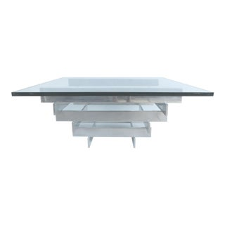 Paul Mayen Aluminum and Glass Coffee Table for Habitat