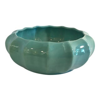 20th Century Contemporary Haeger Turquoise Round Ribbed Planter For Sale