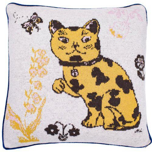 Contemporary Le Chat Coquin Cashmere Pillow For Sale - Image 3 of 3