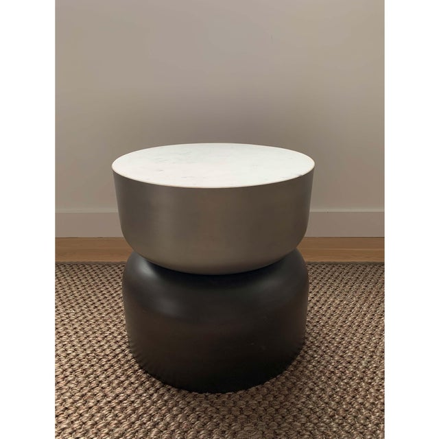 Metal Minimalist Cb2 Marble and Metal Side Table For Sale - Image 7 of 7
