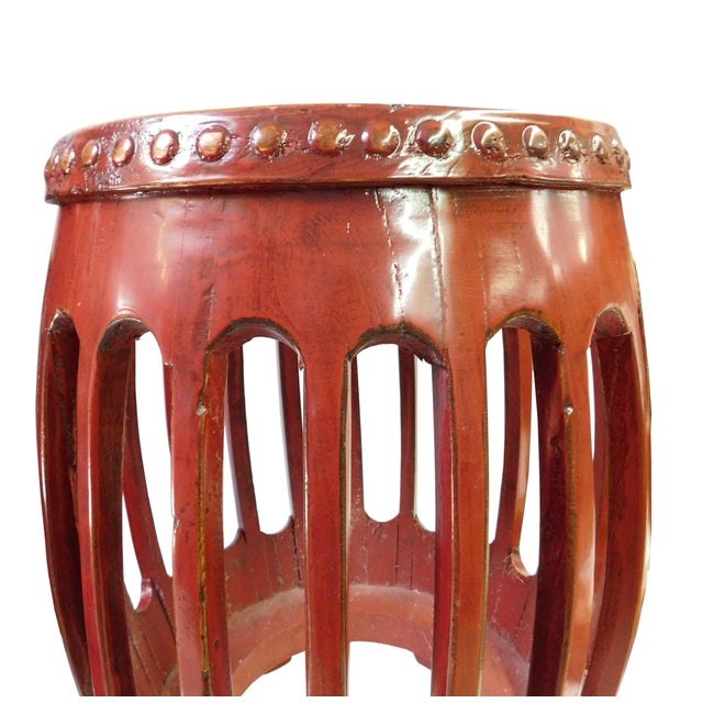 Chinese Red Round Barrel Wood Stools - Pair - Image 4 of 7