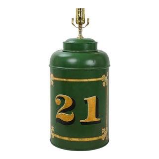 "English Export Vintage Tole Tea Caddy Lamp ""No.21"" For Sale"