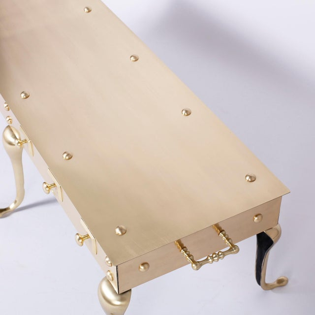 Metal Midcentury Six Legged Brass Coffee or Cocktail Table For Sale - Image 7 of 9