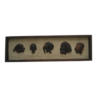 1970s Vintage Native American Indians and Buffalo Framed Wood Carvings For Sale