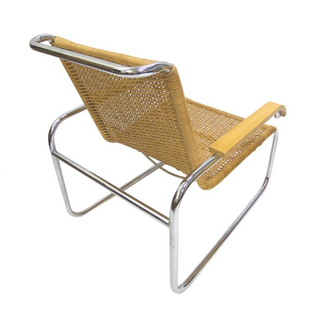 Marcel Breuer B 35 Lounge Chair for Thonet in Chrome and Woven Rattan - Image 4 of 6